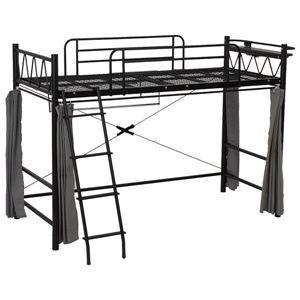 【ベッド別売】サイドカーテン&ポール(ロフトベッド用衣類収納器具) スチールパイプ ブラック(黒)