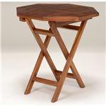 木製ガーデンテーブル/アウトドアテーブル 【八角形/幅70cm】 折りたたみ式 チーク材使用 木目調 の詳細ページへ
