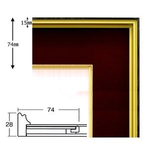 【色紙額】黒い縁に金色フレーム 色紙用 壁掛けひも ■黒金 1/4色紙(マット付き)138×123mm エンジ