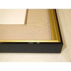 【色紙額】黒い縁に金色フレーム 色紙用 壁掛けひも ■黒金 1/4色紙(マット付き)138×123mm ベージュ
