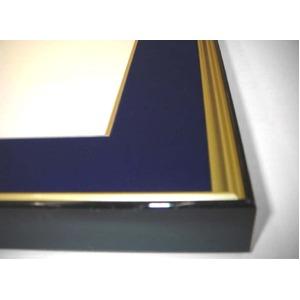 【色紙額】黒い縁に金色フレーム 色紙用 壁掛けひも ■黒金 色紙(マット付き)275×244mm 紺