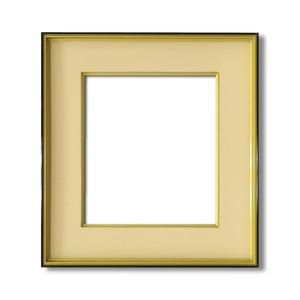 【色紙額】黒い縁に金色フレーム 色紙用 壁掛けひも ■黒金 色紙(マット付き)275×244mm ベージュ
