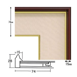 【色紙額】赤い縁に金色フレーム 色紙用 壁掛けひも ■赤金 1/4色紙(マット付き)138×123mm ベージュ