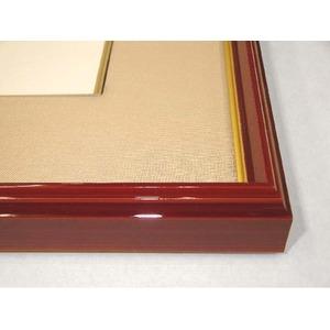 【色紙額】赤い縁に金色フレーム 色紙用 壁掛けひも ■赤金 色紙(マット付き)275×244mm ベージュ