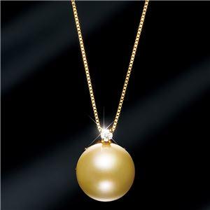 18金ゴールデンパール11mm珠ダイヤモンドペンダント/ネックレス