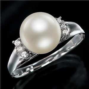 18金あこや真珠8.5mm珠ダイヤリング ホワイト 13号