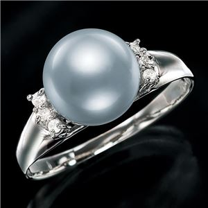 18金あこや真珠8.5mm珠ダイヤリング グレー 12号