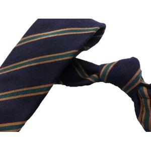 ウール混秋冬シルクネクタイ Clarkプレミアム 手縫い仕立て 西陣ネクタイ ネイビー×グリーンストライプ