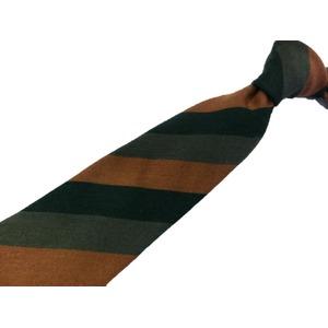 ウール混秋冬シルクネクタイ Clarkプレミアム 手縫い仕立て 西陣ネクタイ ブラウン×グリーンストライプ