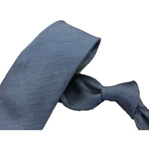 シルク/リネンネクタイ Clarkプレミアム 手縫い仕立て 西陣ネクタイ ブルー×無地