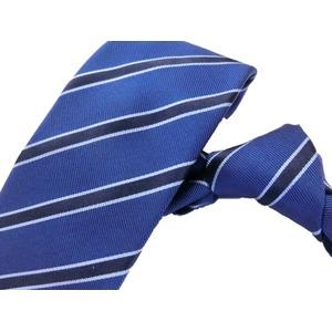 日本製シルク100%ネクタイ ブルー トラッド