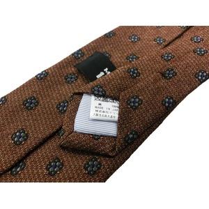 日本製シルク100%ネクタイ ブラウン 小紋