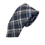 新作季節素材ネクタイ  日本製シルク100% チェック ネイビー