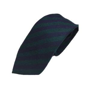 ウール混グランネクタイ 西陣手縫いネクタイ レジメンタルグリーン×ネイビー