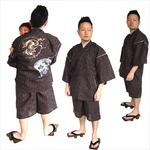風神雷神の手書き絵・しじら織甚平キングサイズ濃茶3Lサイズの詳細ページへ