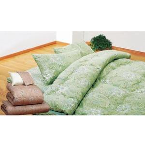 ボリュームウール布団4点セット 【シングルサイズ】 グリーン(緑) (防ダニ・抗菌・防臭)