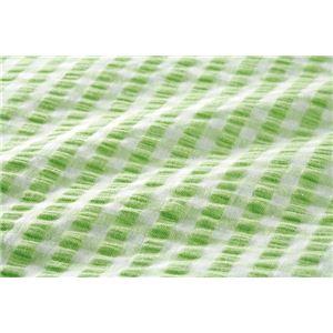 先染め綿サッカーボックスシーツ 同色2枚グリーン シングル