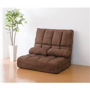 高反発 リクライニングソファー/ソファーベッド 【ダブル ブラウン】 ハイバック 同色クッション2個付き