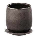 インテリアポット 陶器製植木鉢 カーム ボール グレー 17cm 皿付 2個入りの詳細ページへ