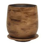 インテリアポット 陶器製植木鉢 ウィート ボール 17cm ライトブラウン 皿付 2個入りの詳細ページへ