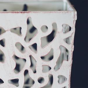 柄抜デザインスタンド 角型 白 048545  23×23×H120
