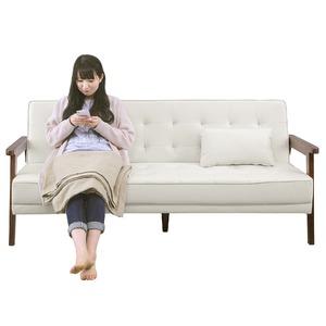 ソファーベッド 【シングルサイズ】 PVCレザー(合皮) クッション2個/肘付き アイボリー
