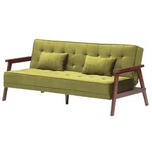 ソファーベッド 【シングルサイズ】 ファブリック(布) クッション2個/肘付き グリーン(緑)