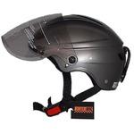 スタイリッシュな開閉式シールド付きハーフヘルメット ガンメタリックの詳細ページへ