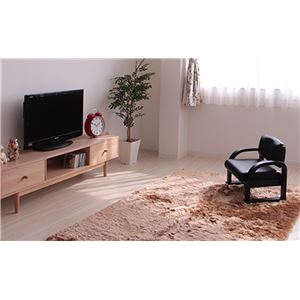 TV座椅子(パーソナルチェア) 木製 合成皮革(合皮) 肘付き 高さ3段階調整可 ブラックレザー