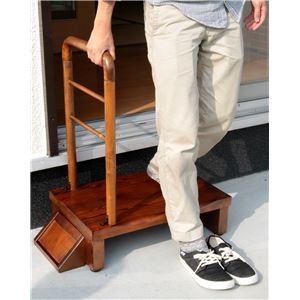 手すり付きうずくり玄関台 (ステップ/踏み台) 幅60cm アジャスター付き 【完成品】
