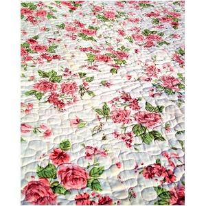 ローズスイート キルトマルチカバー 200×200cm 中綿入り リバーシブル バラ柄