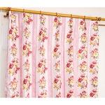 5種類から選べる遮光カーテン 2枚組 100×110 ピンク ローズ柄 花柄 洗える 形状記憶 タッセル付き ストライプフラワーの詳細ページへ