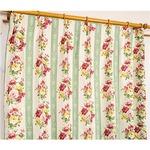 5種類から選べる遮光カーテン 2枚組 100×110 グリーン ローズ柄 花柄 洗える 形状記憶 タッセル付き ストライプフラワーの詳細ページへ