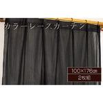 カラーレースカーテン 2枚組 100×176 ブラック ミラーレース 見えにくい 洗える アジャスターフック付き セルバ2の詳細ページへ