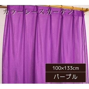 カラーレースカーテン 2枚組 100×133 パープル ミラーレース 見えにくい 洗える アジャスターフック付き セルバ2