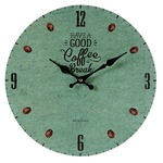 モチーフクロック/壁掛け時計 【Lサイズ/COFFEE BREAK-green- コーヒー ブレイク グリーン】 直径33cmの詳細ページへ