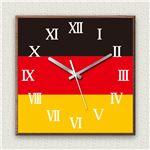 壁掛け時計/デザインクロック 【ドイツ国旗】 30cm角 木材/ウォールナット調素材 『MYCLO』 〔インテリア雑貨 贈り物 什器〕の詳細ページへ