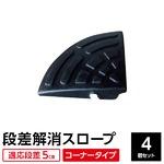 【4個セット】段差スロープ コーナー用(ゴム製 高さ5cm用)/段差プレート/段差解消スロープ 扇形 駐車場の段差ステップに