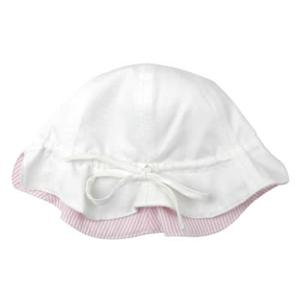 プチボヌール リバーシブルピケハット : ホワイト&ピンクストライプの商品画像大