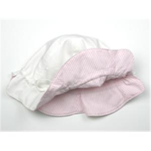 プチボヌール リバーシブルピケハット : ホワイト&ピンクストライプの商品画像大2