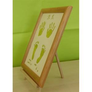 木製ベビーメモリアルフレーム:金箔手形足型フレームの商品画像大2