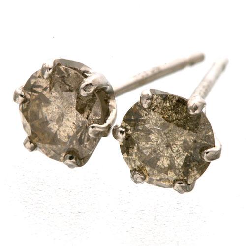 Pt900 ブラウン ダイヤモンドピアス 0.5ct プラチナ