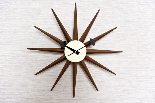 サンバーストクロック(壁掛け時計) 木製/スチール板 幅47cm マルチカラー 【完成品】