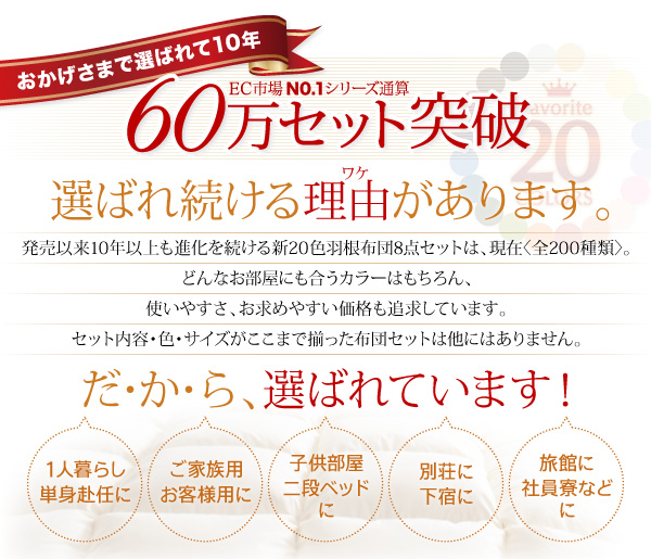 布団8点セット セミダブル【和タイプ】パウダーブルー 〈3年保証〉新20色羽根布団セット