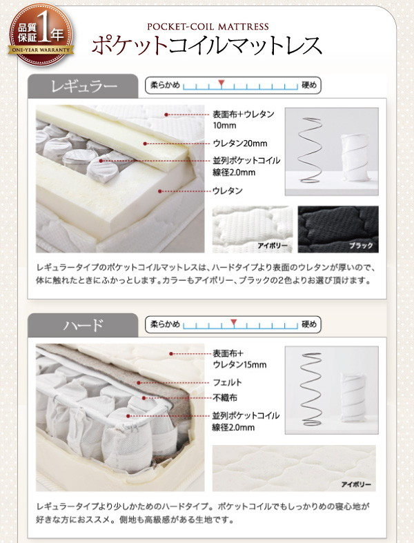 収納ベッド セミダブル【Fleur】通常丈【...の説明画像11