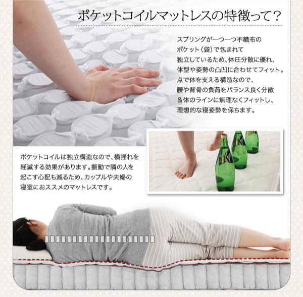 収納ベッド セミダブル【Fleur】通常丈【...の説明画像12