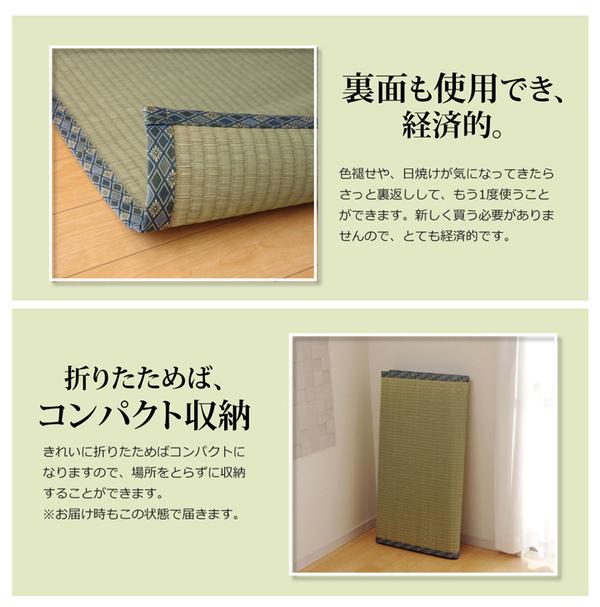 純国産/日本製 糸引織 い草上敷 『柿田川』 本間4.5畳(約286×286cm)