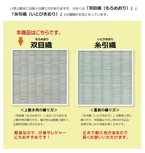 純国産/日本製 双目織 い草上敷 『ほほえみ』 三六間2畳(約182×182cm)