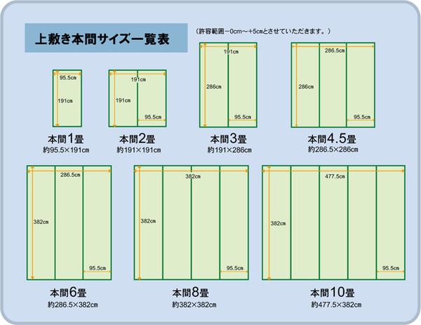 純国産/日本製 双目織 い草上敷 『草津』 本間6畳(約286×382cm)