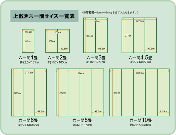 純国産/日本製 双目織 い草上敷 『松』 六一間8畳(約370×370cm)